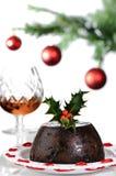 白兰地酒圣诞节布丁 库存照片