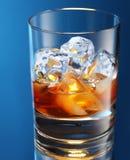 白兰地酒玻璃冰 库存图片