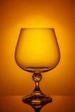 白兰地酒空的玻璃 库存照片