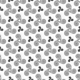 黑白凯尔特triskels无缝的样式 图库摄影