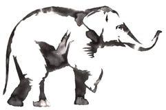 黑白单色绘画用水和墨水得出大象例证 免版税库存图片
