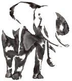黑白单色绘画用水和墨水得出大象例证 库存例证