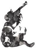 黑白单色绘画用水和墨水得出大象例证 库存照片