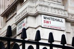 白厅的, SW1,伦敦路牌 免版税库存图片