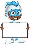白和蓝色超级英雄-拿着一个空白的委员会 免版税库存图片