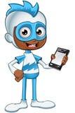 白和蓝色超级英雄-拿着手机 图库摄影