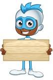 白和蓝色超级英雄-拿着木标志 免版税库存照片