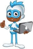 白和蓝色超级英雄-拿着膝上型计算机 免版税库存照片