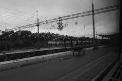黑白在火车 库存照片