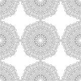黑白坛场的无缝的样式 线艺术 免版税库存图片