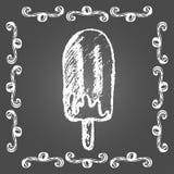 白垩冰淇凌巧克力冰棍儿 图库摄影
