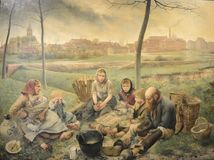 白垩卖主-在中午,绘Léon Frédéric 库存图片