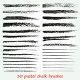 白垩和木炭 一套传染媒介绘画的技巧 Grunge纹理 高分辨率 刷子在调色板被存放 库存例证