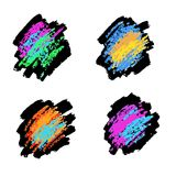 白垩和煤炭纹理  传染媒介刷子冲程 软的淡色 Grunge模式 库存照片