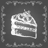 白垩奶油蛋糕用莓果和葡萄酒框架 免版税库存图片