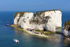 白垩峭壁老哈里在多西特南英国英国晃动Studland海岸 库存照片