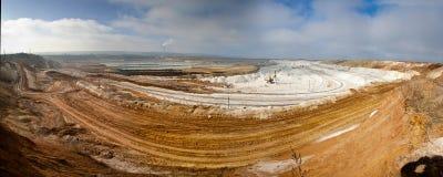 白垩猎物采矿,别尔哥罗德州,俄罗斯全景  库存图片