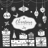 白垩礼物盒和树球 圣诞节收集 免版税库存图片