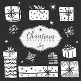 白垩礼物盒 圣诞节收集 向量例证