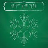 白垩雪花框架和新年问候 免版税图库摄影