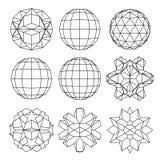 9黑白复杂尺寸球形的汇集和 库存例证