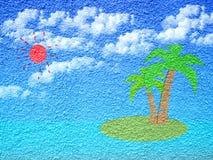白天海岛油漆在水泥墙壁上的形状形式 图库摄影