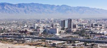 街市图森,亚利桑那空中射击  免版税库存图片