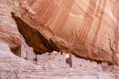 白宫废墟在Canyon de Chelly -特写镜头 图库摄影