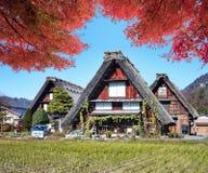 白川町gand Gokayama历史的村庄的图象  库存图片