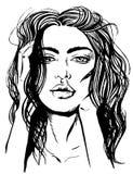 黑白性感的妇女例证T恤杉印刷品的传染媒介 库存例证