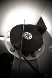 黑白戏院35mm专家放映机 免版税库存照片