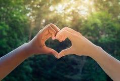 黑白手在心脏塑造,人种间友谊概念 免版税库存照片