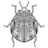 黑白手拉的zentangle风格化臭虫 免版税库存图片