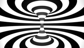 黑白抽象螺旋的圈子 向量例证