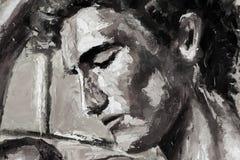 黑白抽象顶头在帆布-现代印象主义艺术的画象原始的油画 图库摄影