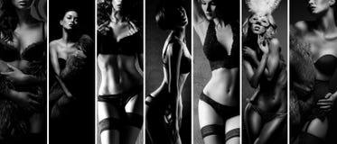 黑白拼贴画 摆在美好的女用贴身内衣裤的性感的妇女 库存照片
