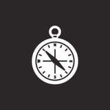 黑白指南针标志 免版税库存照片