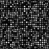 黑白摘要被加点的无缝的样式 与球形,您的设计的惊涛骇浪的小点的纹理 库存照片