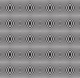 黑白无缝的光学艺术样式背景的传染媒介 库存照片