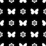 黑白无缝的样式蝴蝶 免版税库存图片
