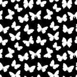 黑白无缝的样式蝴蝶 库存图片