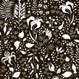 黑白无缝的花卉的样式 库存例证