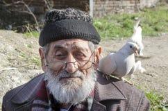 白有胡子的友好祖父和的鸽子 免版税库存图片