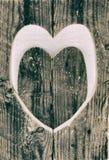 黑白木爱的心脏 免版税库存图片