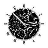 黑白机械时钟 免版税库存照片