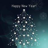 白杉树由被连接的线和小点做成 免版税图库摄影