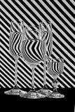 黑白条纹线玻璃 免版税库存照片