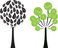 黑白树例证,绿色树例证 免版税库存照片