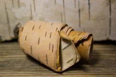 白桦树皮卷  免版税库存照片
