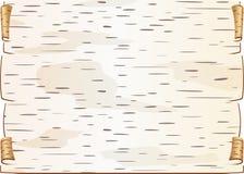 白桦树皮片断扭转了并且塞书信的空白裂缝 免版税库存照片